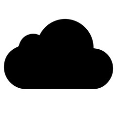 vector black cloud icon on white background.