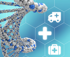 DNA molecule twisted into a spiral and medical icons enclosed in