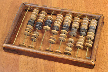 wooden abacus on the table
