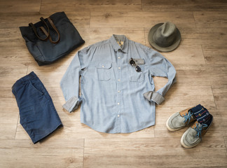 Fashion vintage male outfit, cloth and accessories