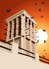 Historical Wind Tower and Birds Vector Illustration Dubai, Unite