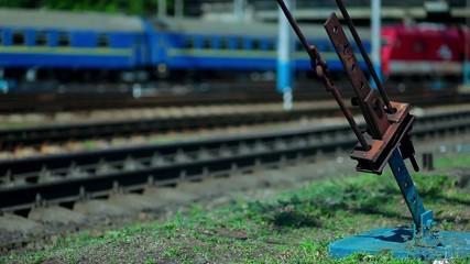 Railroad. Train arrives at the platform.