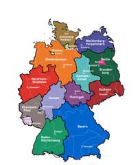 kd4 KarteDeutschland - Bundesländer Hauptstädte Flüsse - g3483