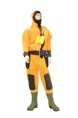 Mannequins in a orange diving suit