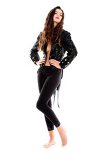 Sensual brunette with black particular jacket and leggins