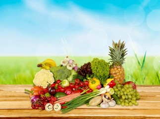 Fruit. Composition with assorted raw organic vegetables isolated