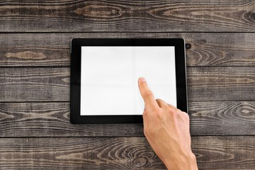 Tablet. Man is going to touch screen of digital tablet. Clipping