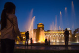 Singing fountains at night in the main square of Yerevan,