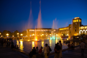 Singing fountains at night in the main square of Yerevan