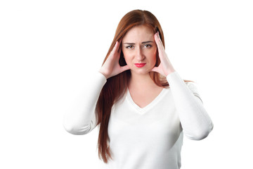 Young redhead woman with headache