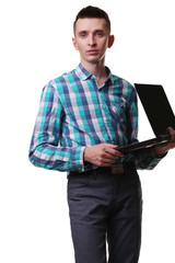Man With Microphone Holding Laptop On White Background