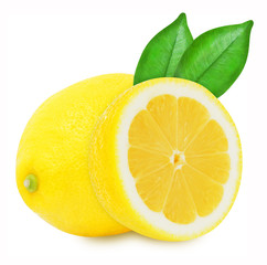 Juicy yellow lemons with leaves on a white background isolated