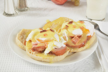 Eggs Benedict with milk