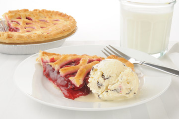 Cherry pie and ice crream