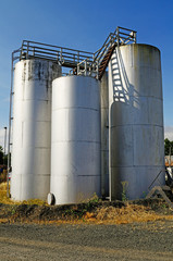 A small petroleum tank farm holding gasoline and diesel