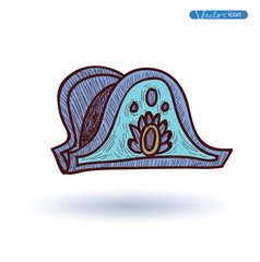 french medieval Hat, Hand Drawn, vector illustration.