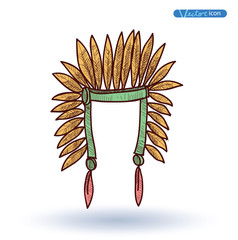 indian Hat, Hand Drawn, vector illustration.