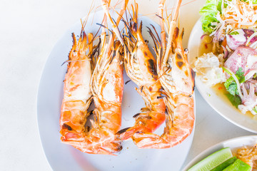 grilled prawns, samui thailand