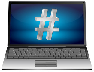 Laptop with Hashtag symbol