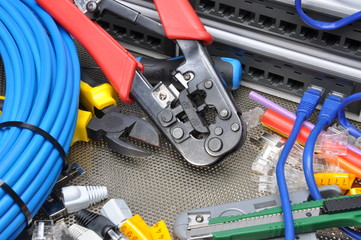 Tools for crimping with component to computer network