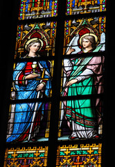 Stained Glass of Saint Barbara and an angel