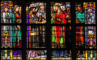 Stained Glass of the Sacrament of Marriage or Holy Matrimony