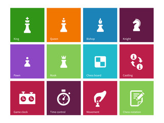 Playing chess icons on color background.