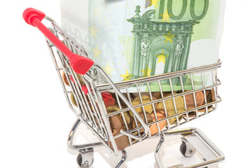 European money and coins in the shopping cart