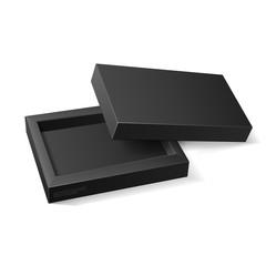 Opened Black Cardboard Package Mock Up Box