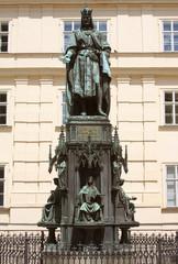 Bronze Statue Of Czech King Charles Iv In Prague