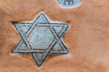 Mosaic of Star of David on the wall of Roman Ghetto house
