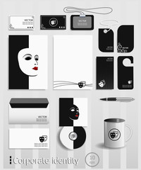 Business cards collection with theatrical masks concept design.