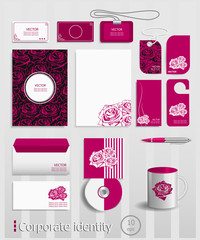 Business cards collection with red roses concept design.
