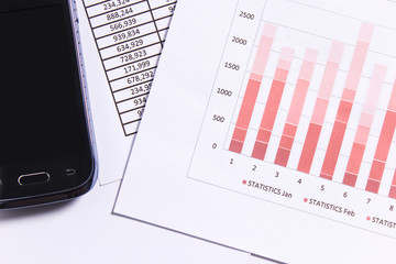 Financial statements review and analyze with charts and phone