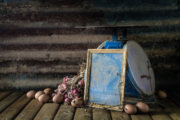 Still life with old photo frame