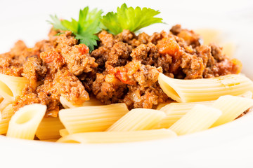 Penne Pasta with Bolognese Sauce closeup