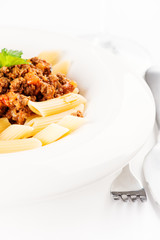 Penne Pasta with Bolognese Sauce copy space