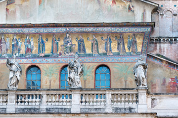 Ancient  facade of Santa Maria in Trastevere church in Rome