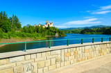 View of Niedzica castle built on bank of Dunajec river, Poland
