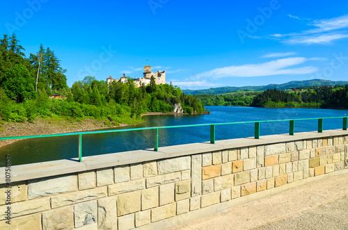 View of Niedzica castle built on bank of Dunajec river, Poland - 80758857
