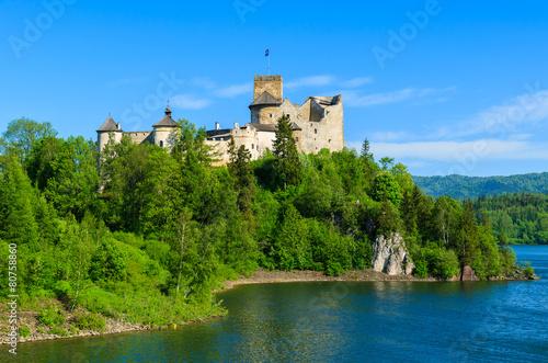 View of Niedzica castle built on bank of Dunajec river, Poland - 80758860