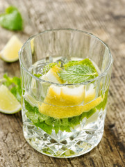 glass of lemon and mint water