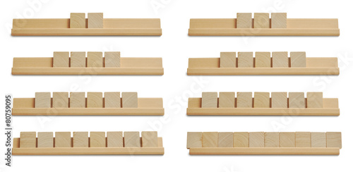 Poszter Collection of blank wood tiles isolated on white background