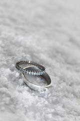 Engagement rings in the snow