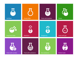 Chemical bulb icons on color background.