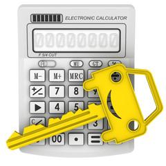 Ключ от автомобиля лежит на электронном калькуляторе