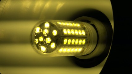 Led Light Corn Lamp Zooming with Flashing. 4K, UltraHD, UHD
