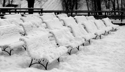 now-covered benches