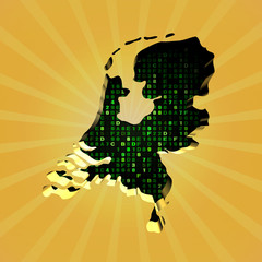 Netherlands sunburst map with hex code illustration