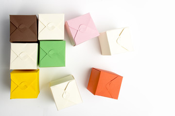 colored boxes made of cardboard